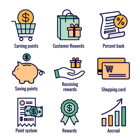 Customer Rewards Icon Set w Shopping Bag and Discount Images Illustration