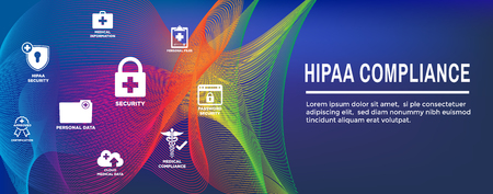 HIPAA Compliance Web Banner Header with Medical Icon Set and text