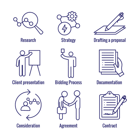 New Business Process Icon Set w Bidding Process, Proposal, & Contract Ilustracja