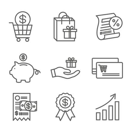 Ensemble d'icônes de récompenses client avec sac à provisions et images de remise