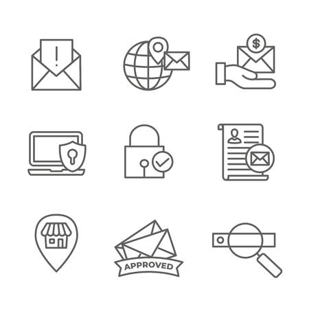 E-mailmarketing regels en voorschriften Icon Set