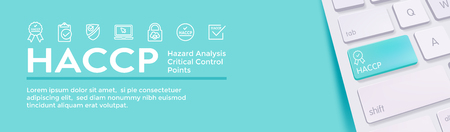 HACCP | Hazard Analysis Critical Control Points icon set and web header banner with award or checkmark