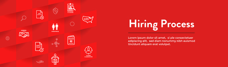 New Employee Hiring Process icon set & Web Header Banner