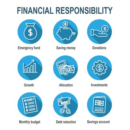 Personal Finance and Responsibility Icon Set mit Geld-, Spar- und Bankoptionen