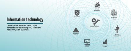 Information technology Web Header Banner - Wrench, Computer Repairman, computer icons, etc. Vektoros illusztráció