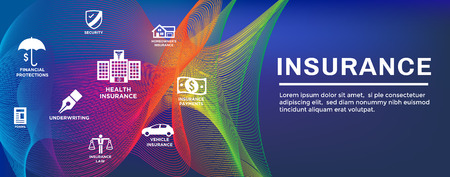 Insurance Web Header Banner with homeowners, medical, life, and vehicle insurance