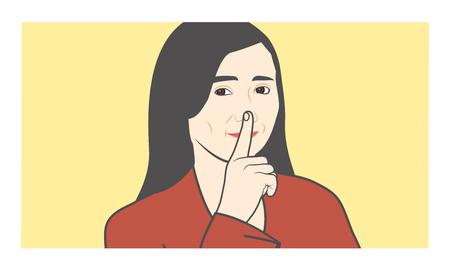 Quiet please, shhh, w finger to nose making shush sound Ilustracja