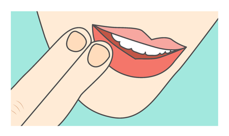 Touching lips & mouth showing sore area or injury Illustration