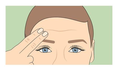 Woman using fingers to show onset of wrinkles & aging Illustration