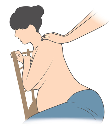 Pregnant Woman in Chair with back pain Getting Backrub