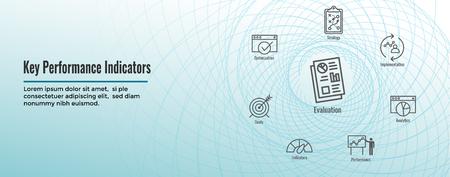 KPI : Key Performance Indicators Web Header Banner and Icon set