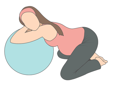 Pregnant woman using labor support peanut ball - lying
