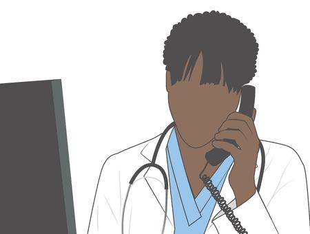 Doctor w estetoscopio y gráfico en el teléfono