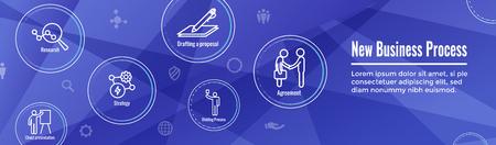 Neuer Geschäftsprozess-Web-Header-Banner und -Symbolsatz Vektorgrafik