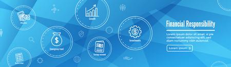 Personal Finance & Responsibility Icon Set & Web Header Banner Illustration