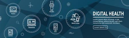 Digital Health Icon Set - Wearable Technology Web Header Banner
