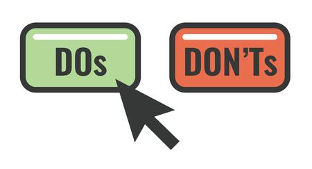 Do's and Don't oder Good und Bad Icons mit positiven und negativen Symbolen Vektorgrafik