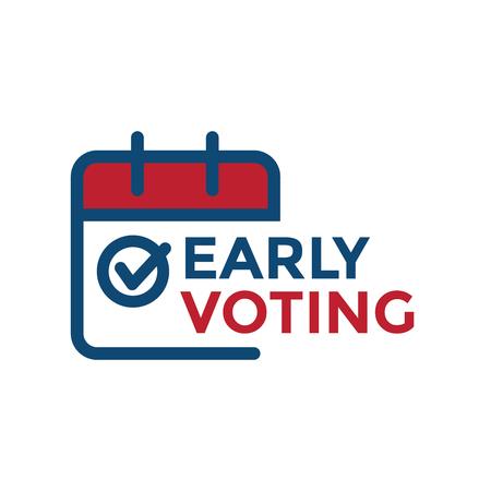 Icono de votación anticipada con voto, icono y simbolismo patriótico y colores Ilustración de vector