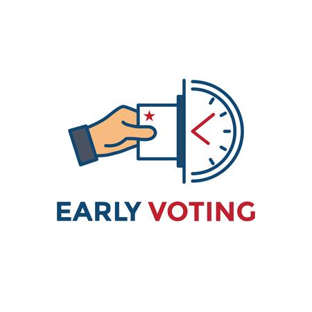 Icono de votación anticipada con voto, icono y simbolismo patriótico y colores