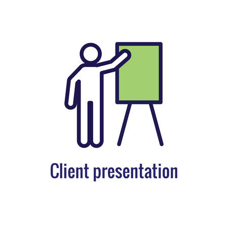 New Business Process Icon | Client Presentation phase Illustration