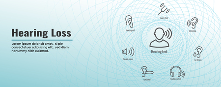 Hearing Aid or hearing loss Web Header Banner with Sound Wave Images Set Illustration