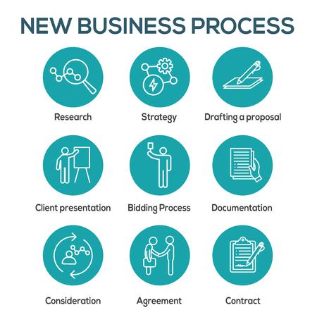 Conjunto de iconos de nuevos procesos comerciales con proceso de licitación, propuesta y contrato