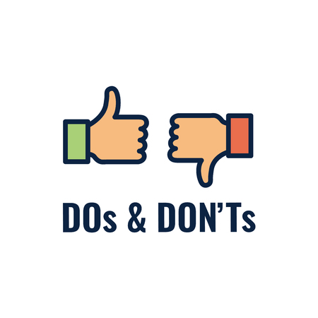 Dos and Dont or Good and Bad Icons with Positive and Negative Symbols