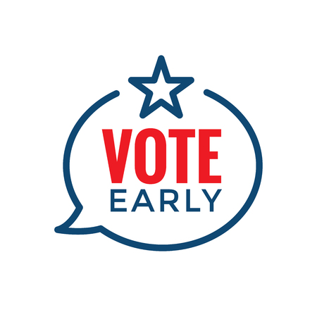 Early Voting Icon with Vote, Icon, & Patriotic Symbolism and Colors Ilustrace