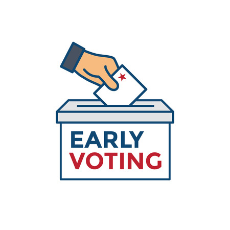 Early Voting Icon with Vote, Icon, & Patriotic Symbolism and Colors Illustration