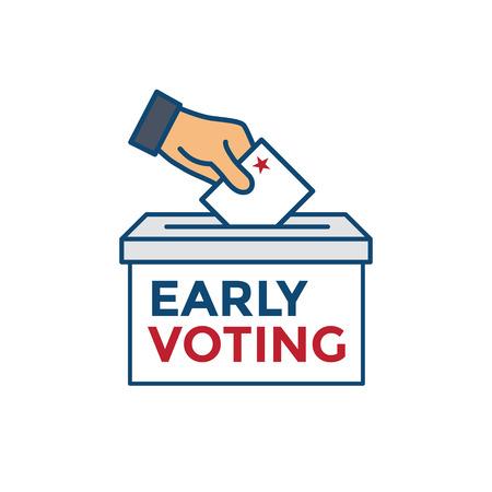 Icône de vote anticipé avec vote, icône, symbolisme patriotique et couleurs