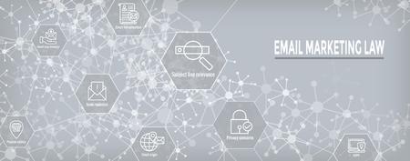 E-mailmarketing Regels en voorschriften Icon Set en Web Header Banner