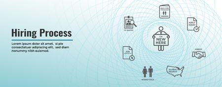 New Employee Hiring Process icon set & Web Header Banner
