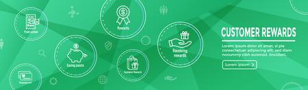 Kundenbelohnungen-Icon-Set und Web-Header-Banner-Design