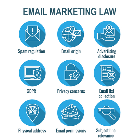 Email Marketing Rules & Regulations Icon Set Stock Illustratie