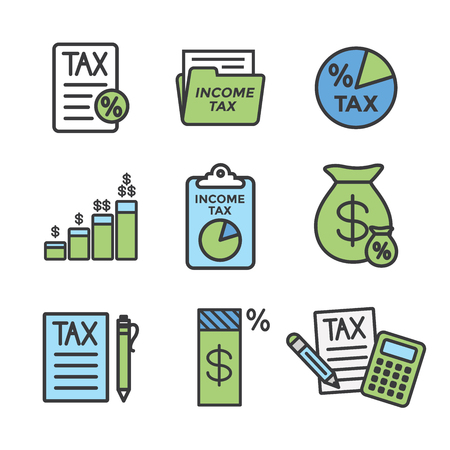 Tax concept w percentage paid, icon and income idea. Flat vector outline illustration. Illustration