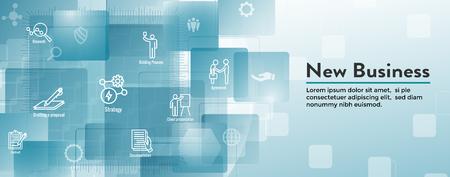 Nouvelle bannière d'en-tête Web de processus d'affaires et jeu d'icônes Vecteurs