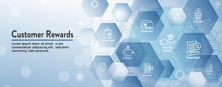 Ensemble d'icônes de récompenses client et conception de bannière d'en-tête Web Vecteurs