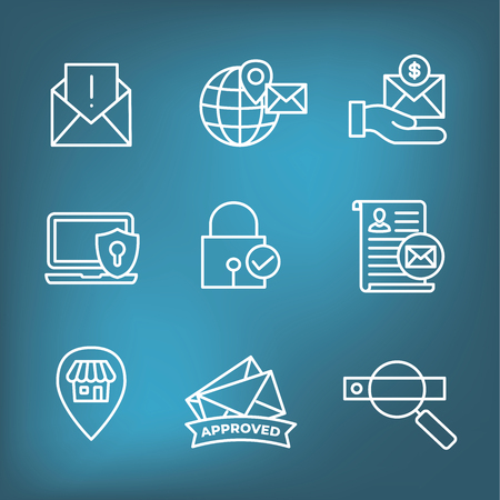 Email Marketing Rules & Regulations Icon Set Stock Illustratie