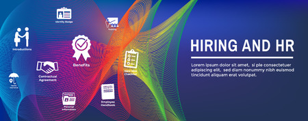 HR & Hiring Process icon set and Web Header Banner