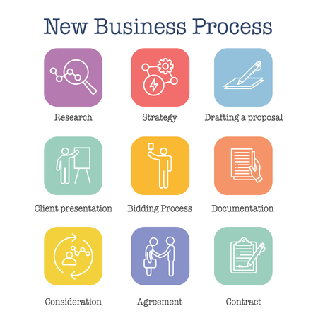 New Business Process Icon Set w Bidding Process, Proposal, & Contract Illustration