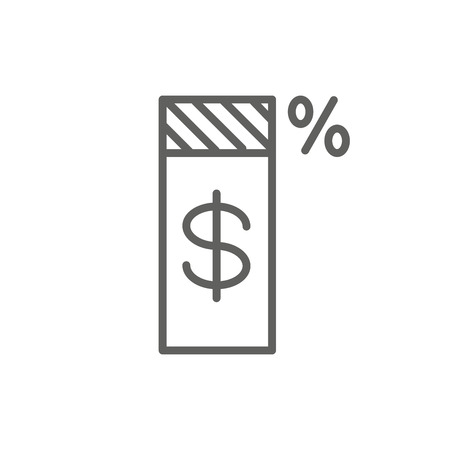 Tax concept w percentage paid, icon and income idea. Flat vector outline illustration. Zdjęcie Seryjne - 124348200