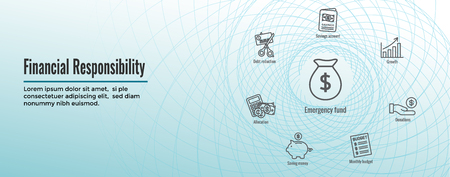 Personal Finance & Responsibility Icon Set & Web Header Banner Ilustração