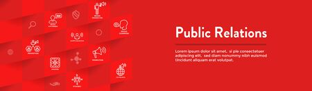 Public Relations Web Header Banner & Icon Set with brand awareness, strategy, and promotion 일러스트