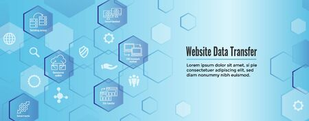 Website Data Transfer Icon Set - Web Header Banner 向量圖像