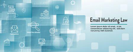 E-mailmarketing Regels en voorschriften Icon Set en Web Header Banner Vector Illustratie