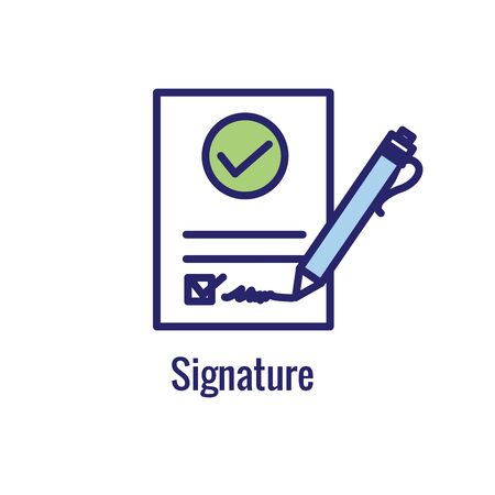 Approval & Signature Icon with approved imagery - to show someones given the go ahead