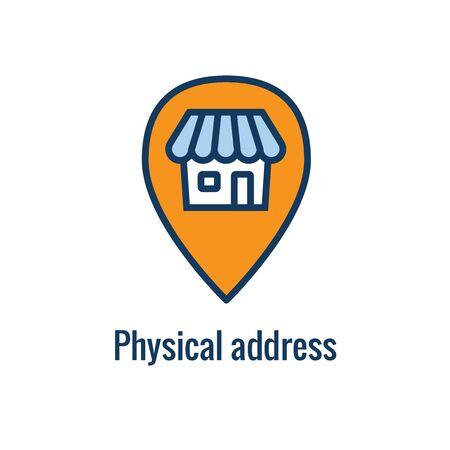 Icône de règles et règlements de marketing par e-mail avec idée d'adresse physique