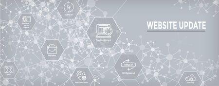 Set di icone di aggiornamento del sito Web e banner di intestazione Web Vettoriali