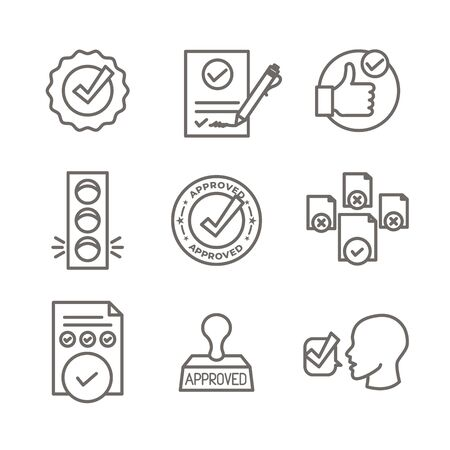 Approval and Signature Icon Set w Stamp and version icons Vettoriali