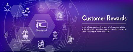 Ensemble d'icônes de récompenses client et conception de bannière d'en-tête Web